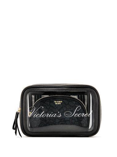 Trio-de-cosmetiqueras-negra-con-encaje-Victoria-s-Secret